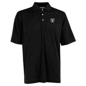 Oakland Raiders Mens Phoenix Waffle Weave Polo (Team Color: Black) - X-Large