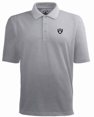 Oakland Raiders Mens Pique Xtra Lite Polo Shirt (Color: Gray)