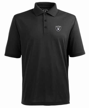 Oakland Raiders Mens Pique Xtra Lite Polo Shirt (Color: Black)
