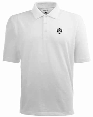 Oakland Raiders Mens Pique Xtra Lite Polo Shirt (Color: White)