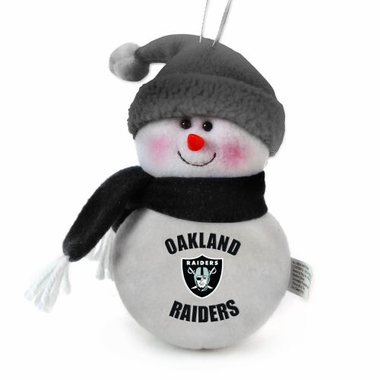 Oakland Raiders Plush Snowman Ornament (Set of 3)