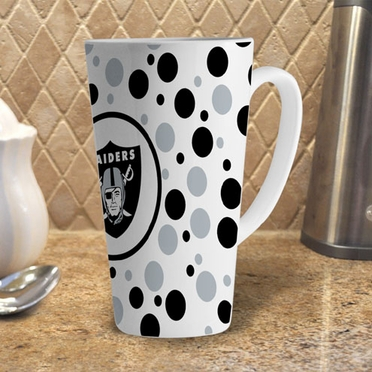Oakland Raiders Polkadot 16 oz. Ceramic Latte Mug