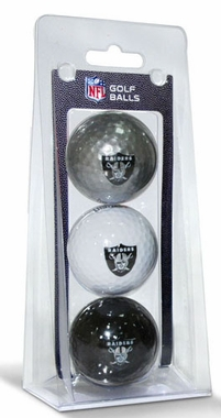 Oakland Raiders Set of 3 Multicolor Golf Balls