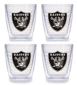 Oakland Raiders Set of FOUR 12 oz. Tervis Tumblers