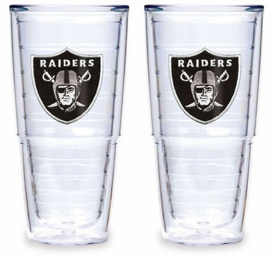 """Oakland Raiders Set of TWO 24 oz. """"Big T"""" Tervis Tumblers"""