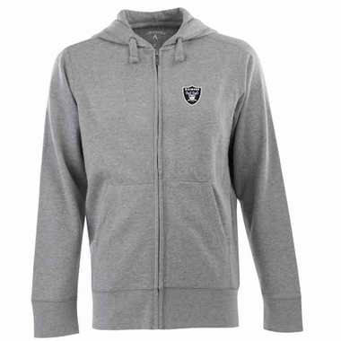 Oakland Raiders Mens Signature Full Zip Hooded Sweatshirt (Color: Gray)