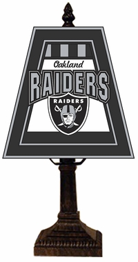 Oakland Raiders Small Art Glass Lamp