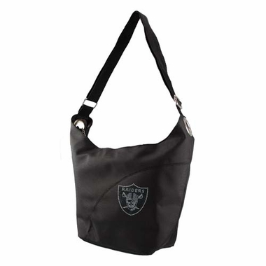 Oakland Raiders Sport Noir Sheen Hobo Purse