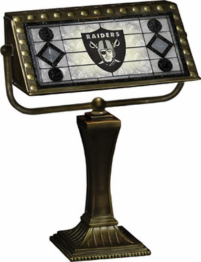 Oakland Raiders Stained Glass Bankers Lamp