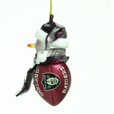 Oakland Raiders Striped Acrylic Touchdown Snowman Ornament (Set of 4)