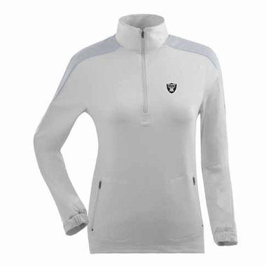 Oakland Raiders Womens Succeed 1/4 Zip Performance Pullover (Color: White)