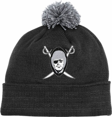 Oakland Raiders Throwback Jersey Stripe Cuffed Knit Hat w/ Pom