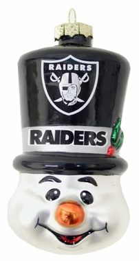 Oakland Raiders Tophat Snowman Glass Ornament