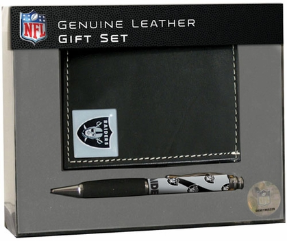 Oakland Raiders Tri-Fold Wallet and Pen Set