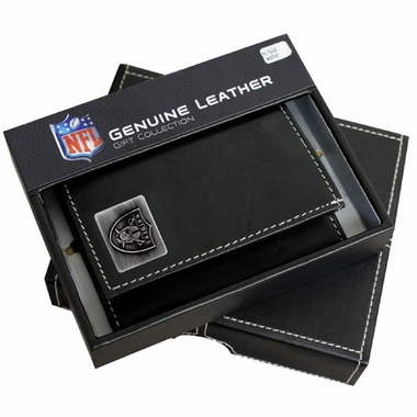 Oakland Raiders Trifold Wallet With Metal Logo