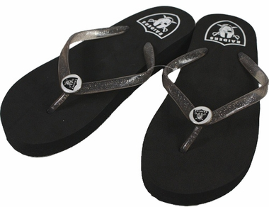Oakland Raiders Wedge Flip Flops