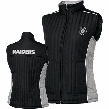 Oakland Raiders Women's NFL Rally Full Zip Quilted Vest Jacket