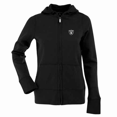 Oakland Raiders Womens Zip Front Hoody Sweatshirt (Color: Black)