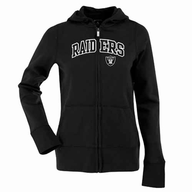 Oakland Raiders Applique Womens Zip Front Hoody Sweatshirt (Color: Black)