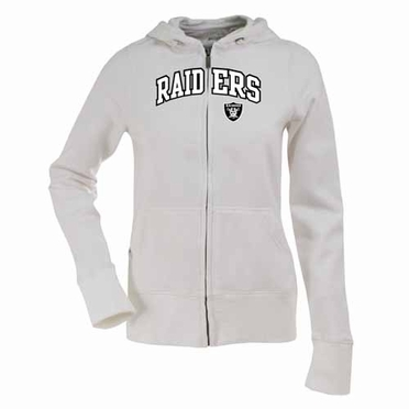 Oakland Raiders Applique Womens Zip Front Hoody Sweatshirt (Color: White)