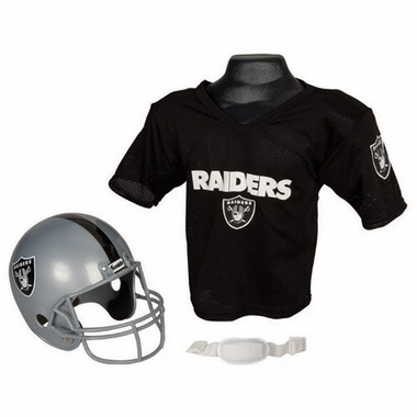 Oakland Raiders Youth Helmet and Jersey Set
