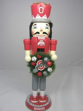 Ohio State 14 Inch Wreath Nutcracker Figurine