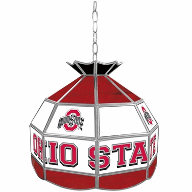 Ohio State 16 Inch Diameter Stained Glass Pub Light