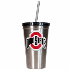 Ohio State 16oz Stainless Steel Insulated Tumbler with Straw