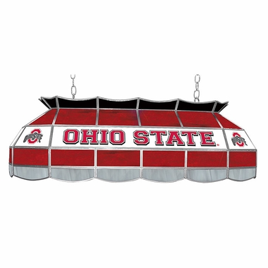 Ohio State 40 Inch Rectangular Stained Glass Billiard Light