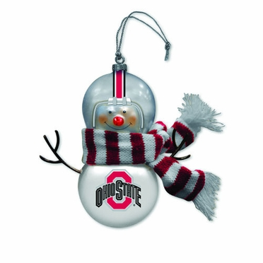 Ohio State Blown Glass Snowman Ornament (Set of 2)