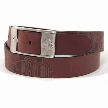 Ohio State Brown Leather Brandished Belt