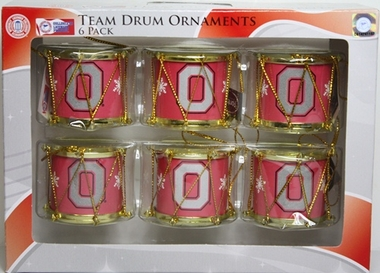 Ohio State Buckeyes 2012 Plastic Drum 6 Pack Ornament Set