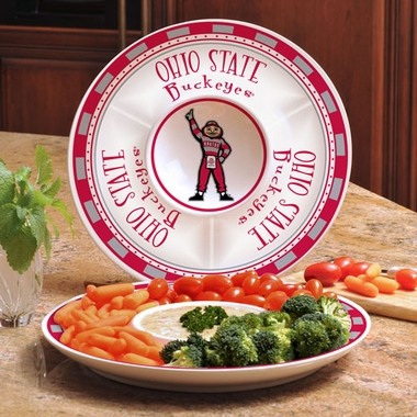Ohio State Ceramic Chip and Dip Plate