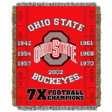 Ohio State Commerative Jacquard Woven Blanket
