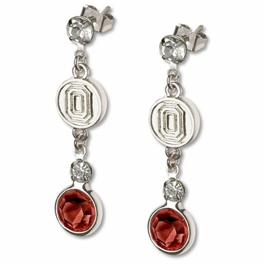 Ohio State Crystal Logo Dangle Earrings