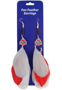 Ohio State Feather Earrings