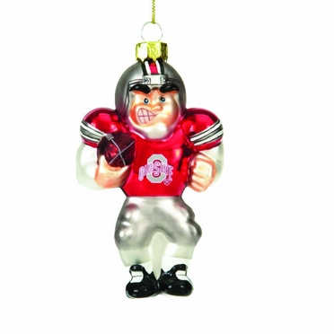 Ohio State Glass Football Player Ornament (Set of 3)