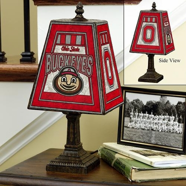 Ohio State Small Art Glass Lamp