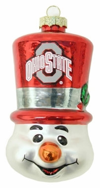 Ohio State Tophat Snowman Glass Ornament