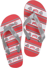 Ohio State Unisex Striped Flip Flops - Large
