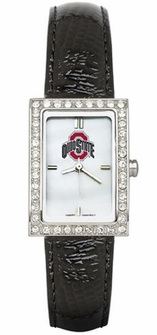 Ohio State Women's Black Leather Strap Allure Watch