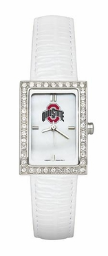 Ohio State Women's White Leather Strap Allure Watch