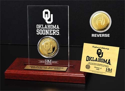 Oklahoma Sooners University of Oklahoma 24KT Gold Coin Etched Acrylic