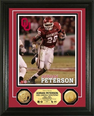 Oklahoma Sooners Adrian Peterson University of Oklahoma 24KT Gold Coin Photo Mint