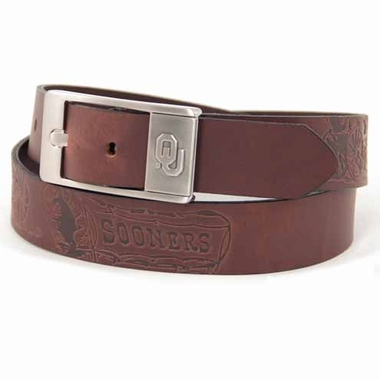 Oklahoma Brown Leather Brandished Belt