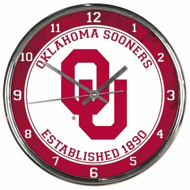 Oklahoma Sooners Round Chrome Wall Clock