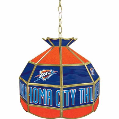 Oklahoma City Thunder 16 Inch Diameter Stained Glass Pub Light