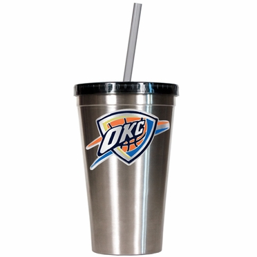 Oklahoma City Thunder 16oz Stainless Steel Insulated Tumbler with Straw