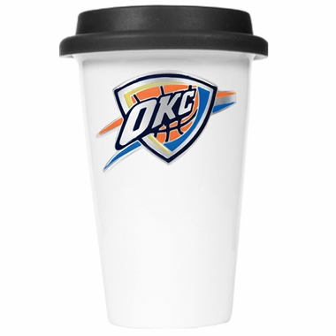 Oklahoma City Thunder Ceramic Travel Cup (Black Lid)