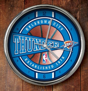 Oklahoma City Thunder Chrome Clock